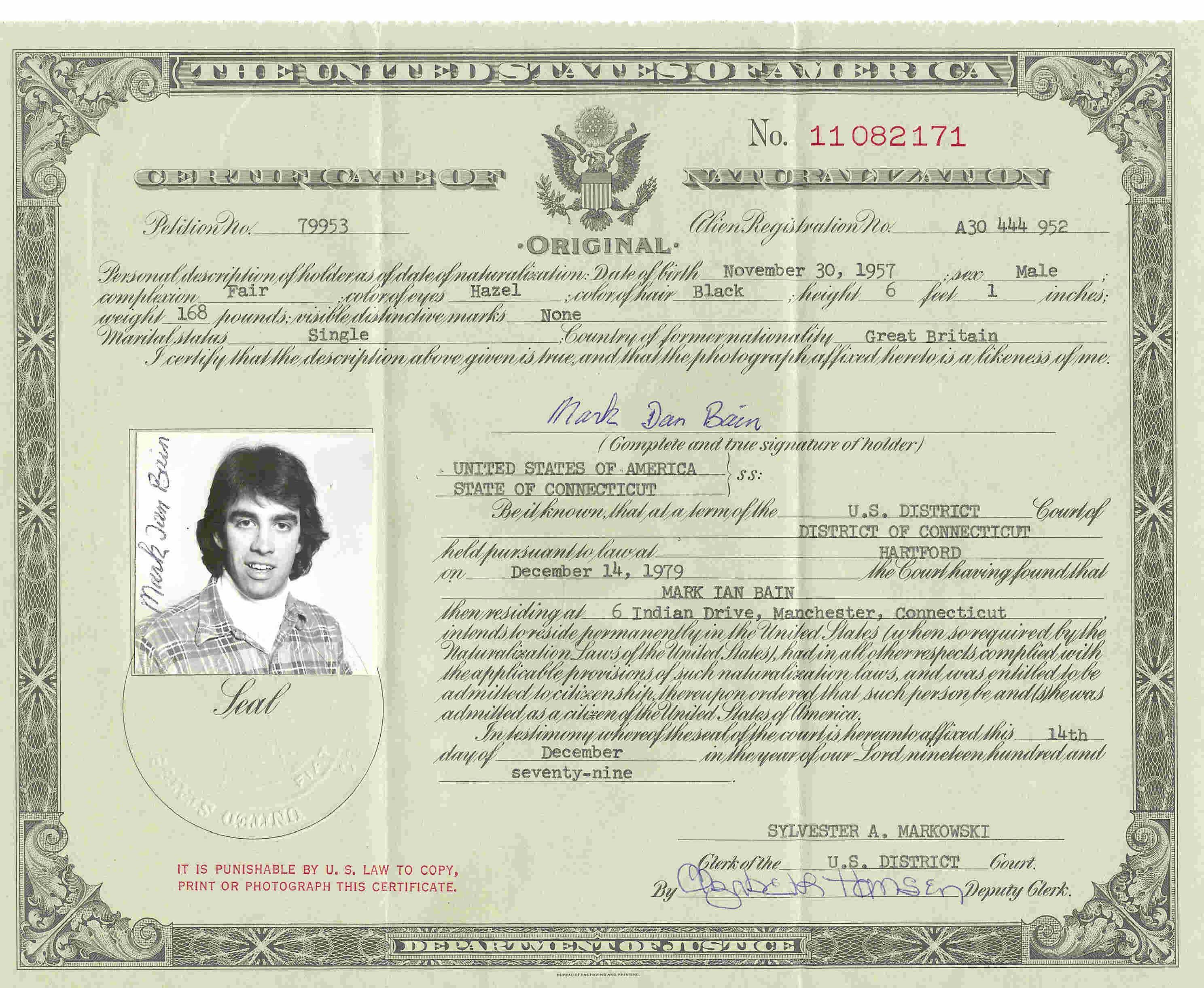 Mark Bain Naturalization Certificated
